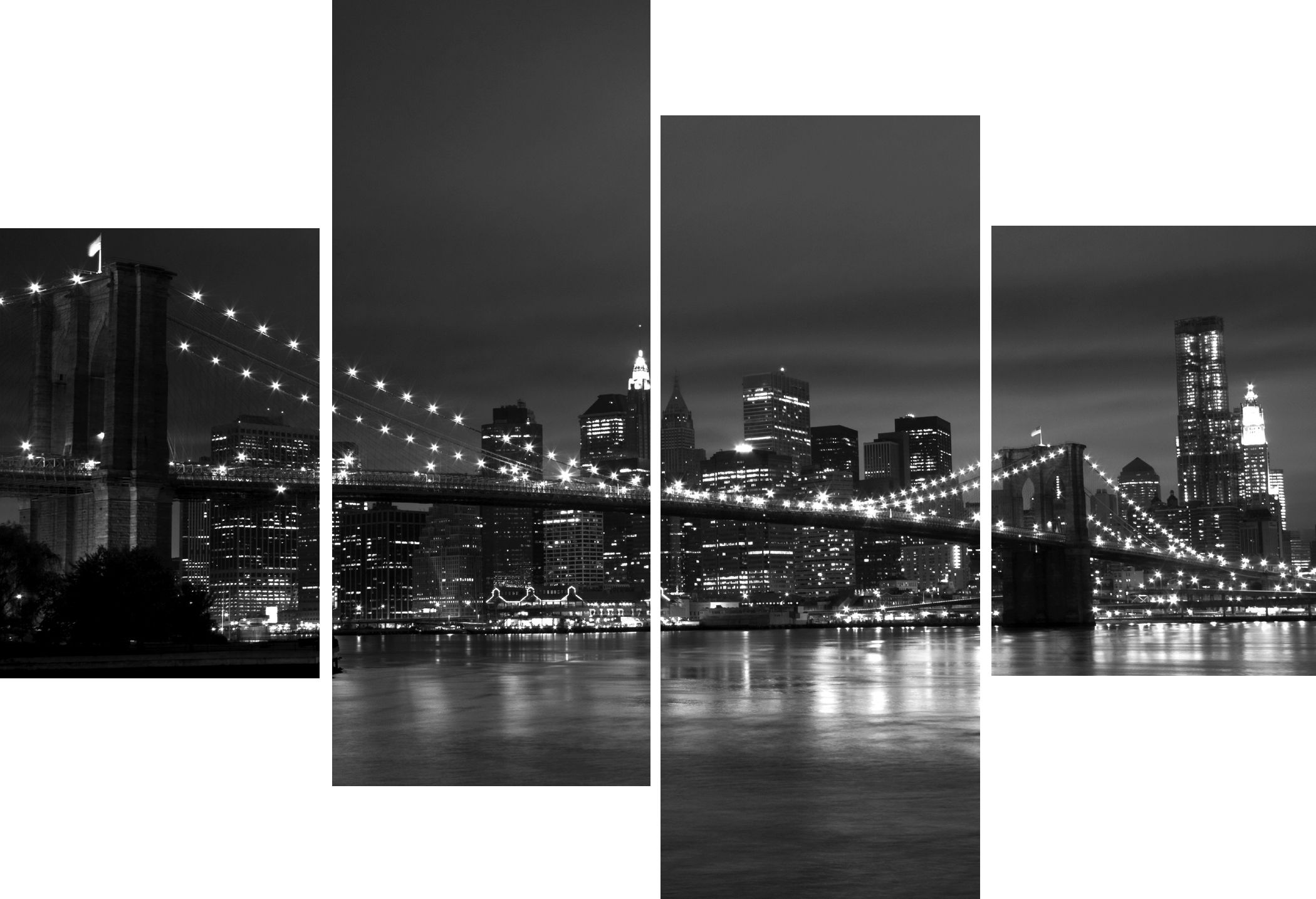 Large 4 Panel Multi Set New York City Bridge Black And White Canvas Pictures Modern Home Decor Wall 4386 P